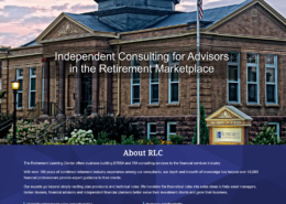 Home page design for Retirement Learning Center, including menu, hero image, about information, and services.