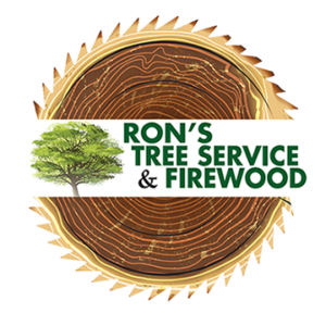 Logo for Ron's Tree Service & Firewood including name of company and tree over the top of a cut section of a tree trunk.