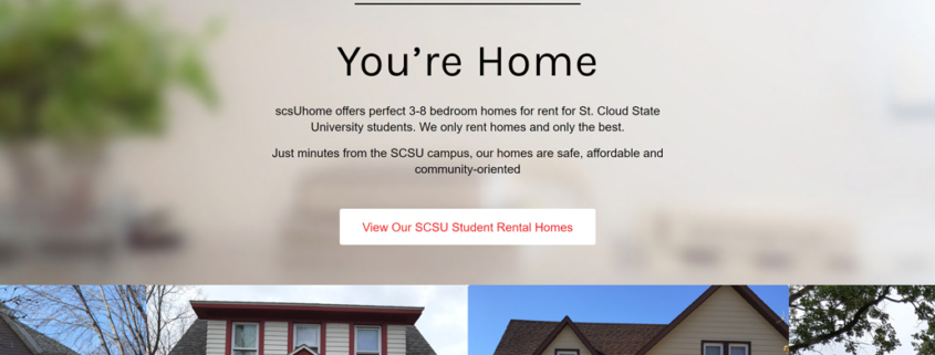 Custom WordPress website design for scsuHome home page in St. Cloud, MN