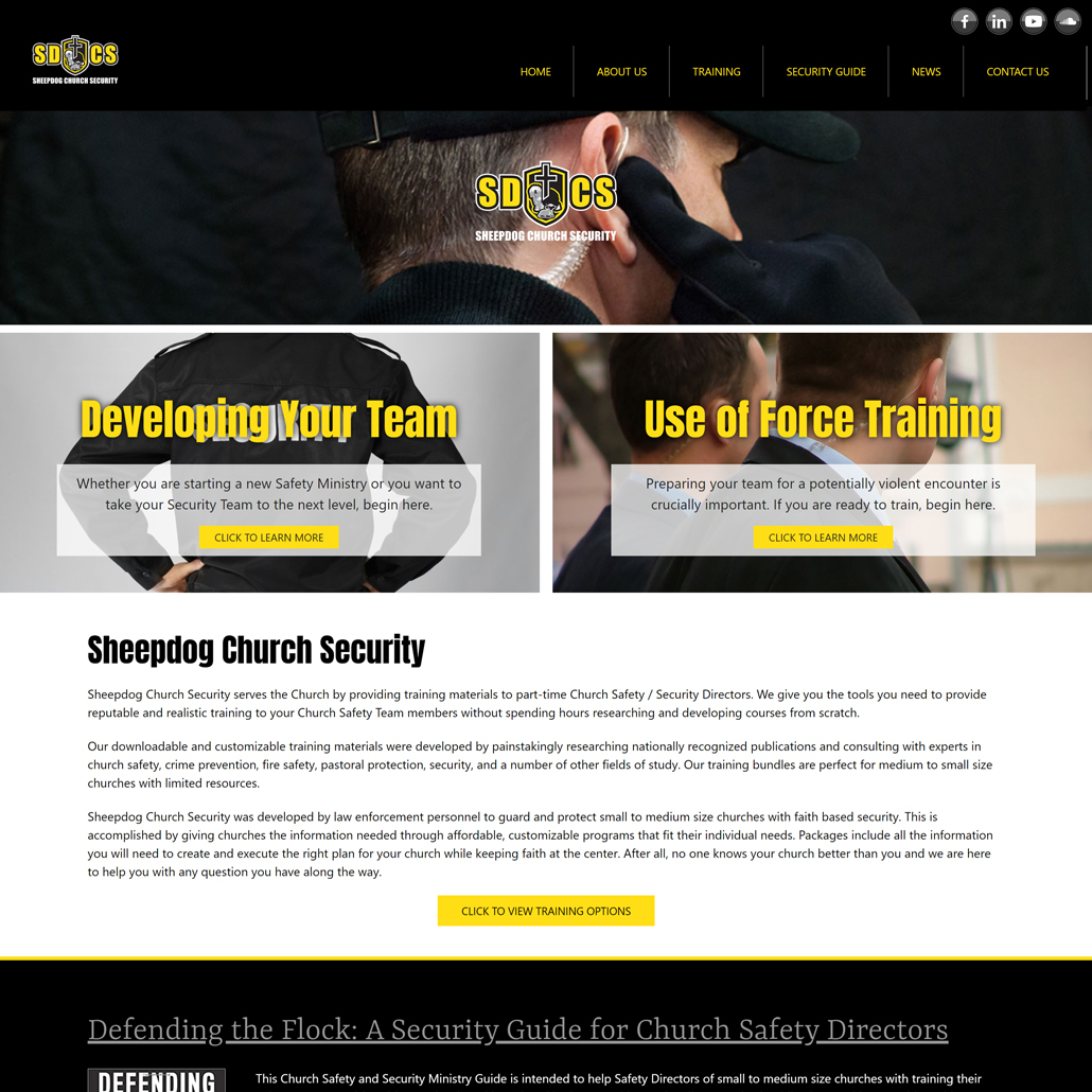 Custom Trustdyx website design for Sheep Dog Church Security home page in Belle Plaine, MN
