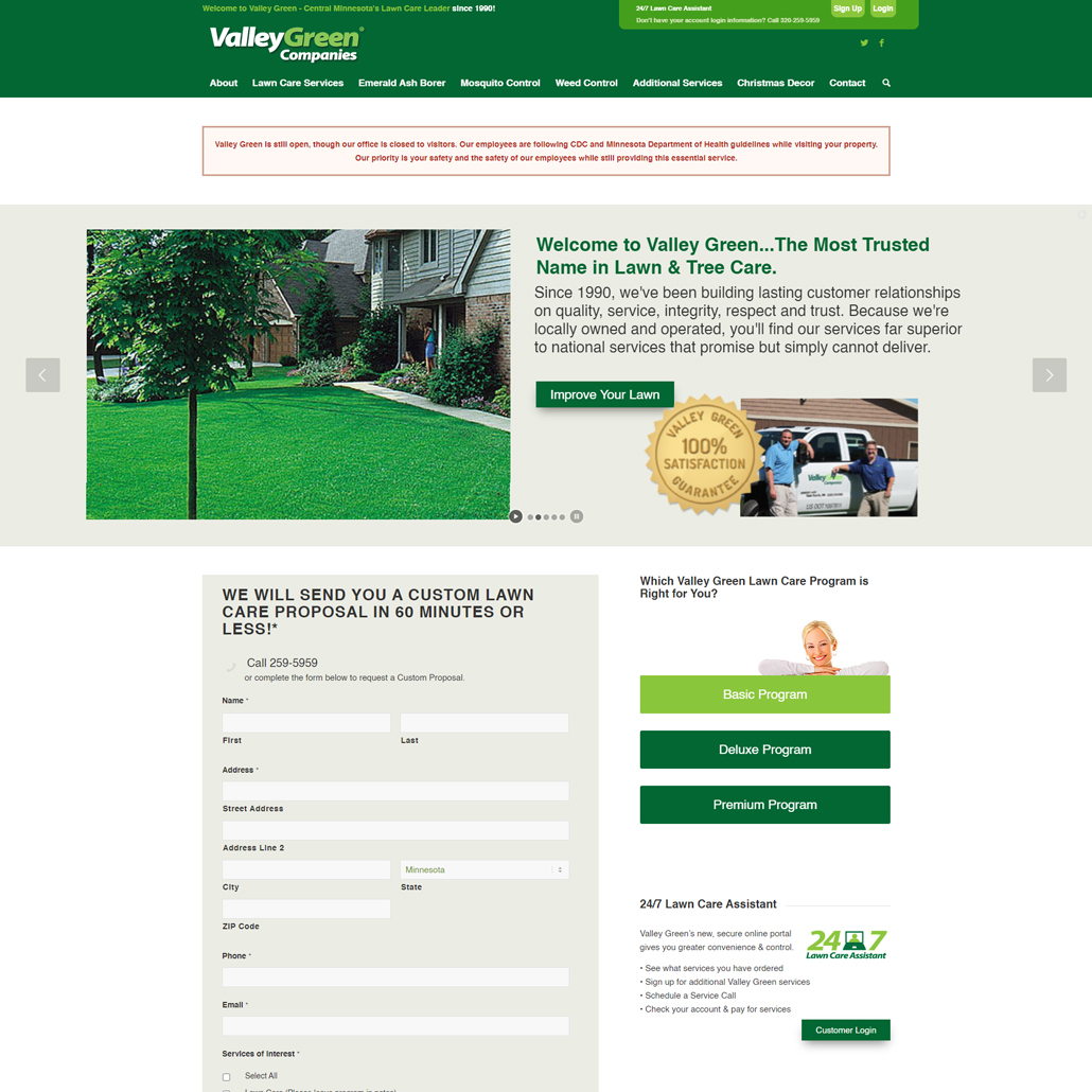 Custom WordPress website design for Valley Green Companies home page in Sauk Rapids, MN