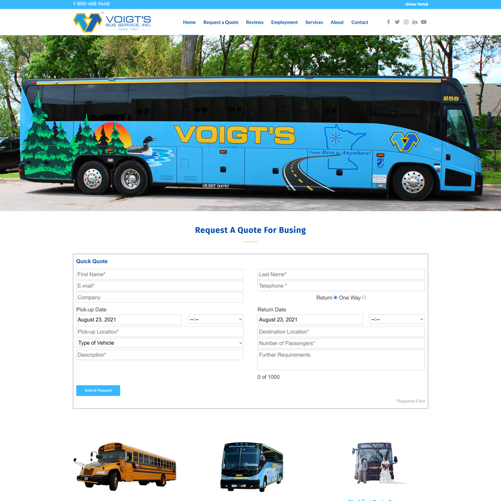 Custom WordPress website design for Voigts home page in St. Augusta, MN