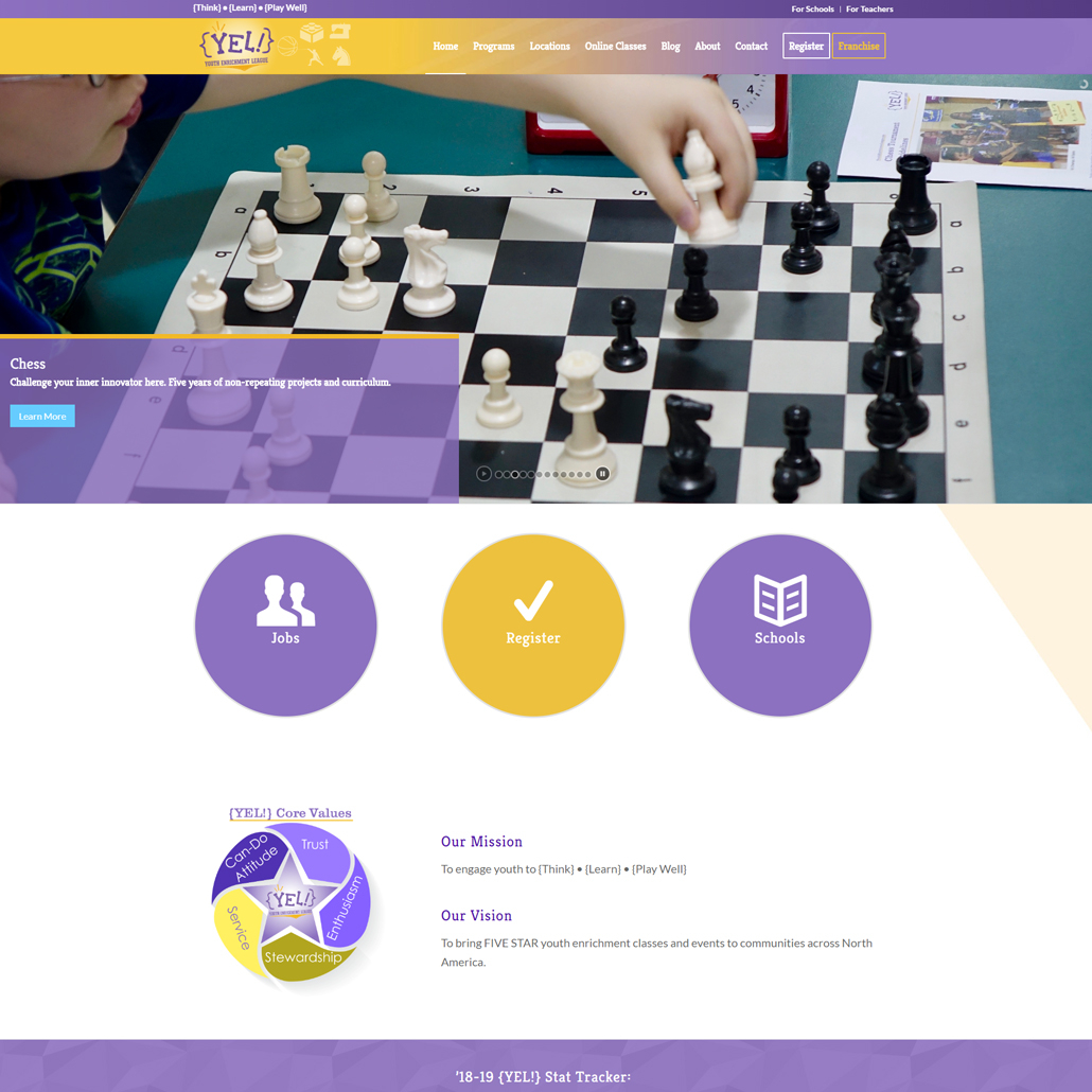 Custom WordPress website design for Youth Enrichment League home page in Midwest USA