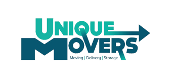 Logo for Unique Movers in teal, showing the name of the company.